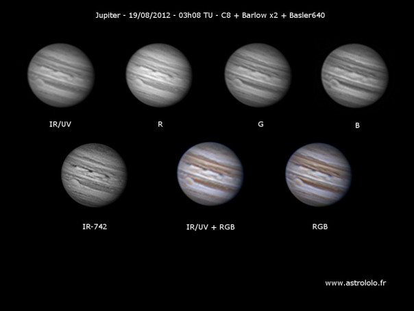 Photo de la planète Jupiter du 19/08/2012