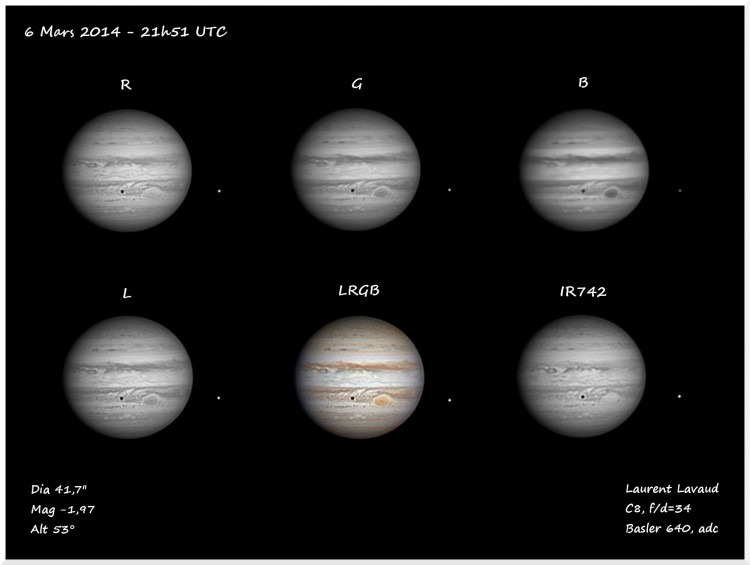 Photo de la planète Jupiter du 06/03/2014